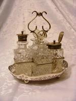 Kristály, antik, ezüstözött alpakka olaj, ecet, fűszerszett 1900-as évek első feléről