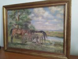 Pihenő lovak ismeretlen művésztől
