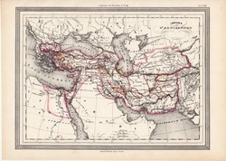 Nagy Sándor birodalma térkép, kiadva 1861, olasz, eredeti, atlasz, történelmi, ókor, Macedónia, régi