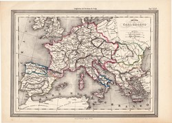 Nagy Károly birodalma térkép, kiadva 1861, olasz, eredeti, atlasz, történelmi, francia, Európa