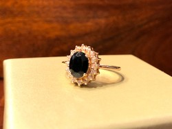 Gyönyörű antik arany gyűrű valódi zafírral és gyémántokkal