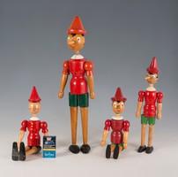 Festett fa Pinokkió figurák, bábuk