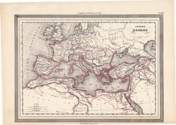Római birodalom térkép, kiadva 1861, olasz, eredeti, atlasz, történelmi, ókor, Európa, Pannonia
