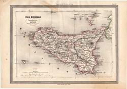 Szicília térkép 1861, olasz, eredeti, atlasz, Olaszország, dél, Messina, Itália, Palermo