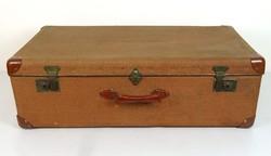 0Y630 Régi utazó nagyméretű bőrönd 45 x 75 cm 1953