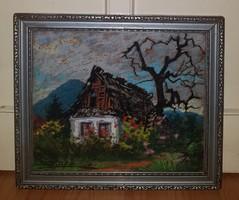 Sztelek Norbert (1884-1956) Nagybányai ház  háttérben a Kereszt heggyel
