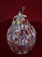 Ólomkristály méz tartó edény, magassága 14 cm. BL