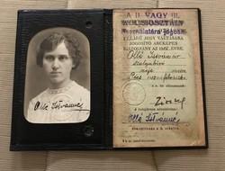 Ritka !!!Magyar Királyi Államvasutak Félárú jegy igazolvány 1915!Pécs