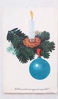 Régi karácsonyi képeslap fenyőágas gyertya