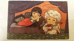 Régi képeslap 1933 keleti hangulatú art deco üdvözlőlap