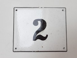 Régi 2-es házszám zománctábla zománcozott tábla