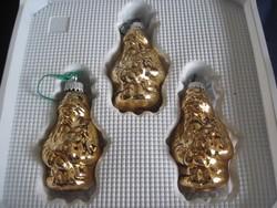 Régi üveg karácsonyfadísz arany színű Mikulás Télapó 3 db.