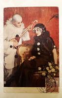 Régi képeslap 1921 art deco üdvözlőlap Pierrott és Pierrette