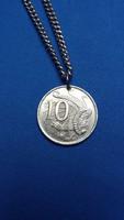 Jubíleumi ausztrál 10 centes (ezüst?) medálként, fém láncon