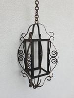 Vintage régi nagy méretű vas lámpás lámpa gyertyatartó 53 cm