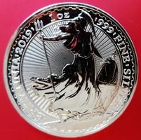 ÚJ 2019 Nagy-Britannia egy uncia (31,1 g) Britannia ezüst 2 font érme, Ag 999 színezüst