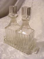Meseszép, antik, kristály asztali olaj - ecet készlet.