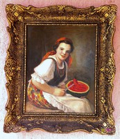 Dinnyekóstoló leány, antik olaj-vászon festmény, szép blondelkeretben. Geiger Richárd alkotása