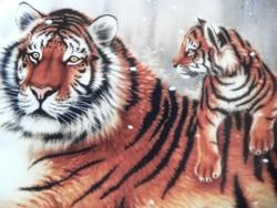 Tigrises porcelán falitányér