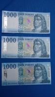 Három db 1000 Forintos bankjegy 2017-ből