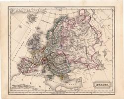 Európa térkép 1854, német nyelvű, eredeti, atlasz, osztrák, politikai, országok, monarchia, XIX. sz.