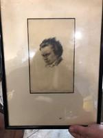 Gyönyörű fiatalkori Beethoven ábrázolás, ritka,15 x 25 cm-es a kép maga