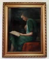 Kümmerle Pál olvasó lány c. festménye keretezve