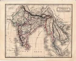 India térkép 1854, német nyelvű, eredeti, atlasz, osztrák, Ázsia, Nepál, Indokína, Gangesz, Ceylon