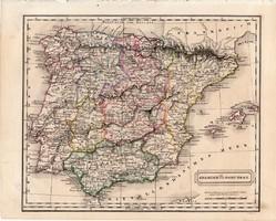 Spanyolország és Portugália térkép 1854, német nyelvű, eredeti, atlasz, osztrák, Hispánia, Európa