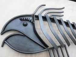 Kovics-Manó Egyedi acél szobor Nagy 90cm kézműves vas hal fisch fal kemence dísz kovácsoltvas
