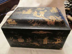 Kínai festett, lakk dobozka