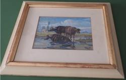 Id. Kátai Mihály _ Bölénycsoport - képcsarnokos akvarell