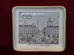 Olasz porcelán asztalközép.Antik, CINZANO reklám. Torinói kép. Rep. S. Marino.
