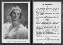 Asztrid belga királyné /született Asztrid svéd hercegnő, élt 30 évet/ gyász-kártyája 1935-ből