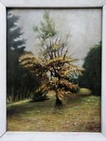 """""""Virágzó fa"""" olaj-kartom festmény"""