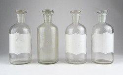 0Y746 Antik patika üveg 4 darab egyforma 16.5 cm