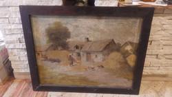 Jelzett régi festmény olaj-vászon falusi életkép