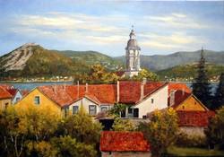 Lantos György Dunakanyar Visegrád Nagymaros felől 70x100cm