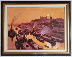 """Bánfalvy Ákos """"Pozsony 1900 körül"""" c. olajfestmény ingyenes házhoz szállítással"""