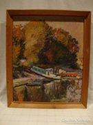 Nyíri L. 1963 olaj - farost festmény kompkikötő