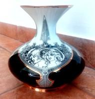 Hollóházi Jurcsák nagy váza 15cm-es Szász  Endre stílusú