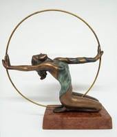 """Czobor Sándor """"Karikában"""" c. gyönyörű bronz kisplasztika eladó eredetigazolással és ingyen postával"""