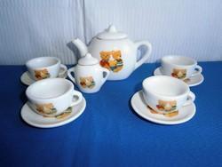 Nagyon szép baba házba való porcelán kicsi kávés teás készlet macis gyermek mintával