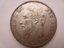 1873 Belga 5 frank Leopold 2. király ezüst érme ritka 25gr 0.900ag