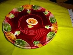 Szecessziós majolika fali  tányér