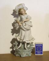 Bájos biszkvit porcelán hölgy, kislány figura szép ruhában, arany díszítéssel-nagyobb méretű