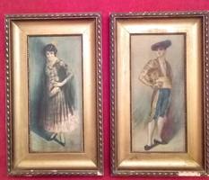 Spanyol férfi és nő portréja