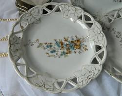 Gyönyörű antik madaras áttört mintás tál, tányér 3 db