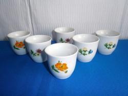 Jelzett porcelán pálinkás, likőrös készlet, 6 db pohár, kupica nagyon szép virág mintával
