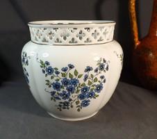 Zsolnay áttört kaspó 17 cm ,ritka kék virágos
